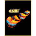 G-Spot Glass Handpipe - Black, Blue, Orange and Yellow Stripes