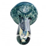 Inner Fire Glass Handpipe - Turquoise Frit with Black Accents